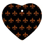 ROYAL1 BLACK MARBLE & RUSTED METAL Heart Ornament (Two Sides) Front