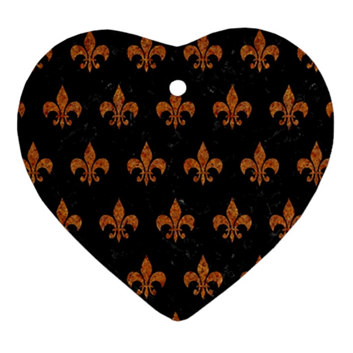 ROYAL1 BLACK MARBLE & RUSTED METAL Heart Ornament (Two Sides)