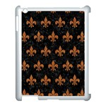 ROYAL1 BLACK MARBLE & RUSTED METAL Apple iPad 3/4 Case (White) Front