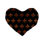 ROYAL1 BLACK MARBLE & RUSTED METAL Standard 16  Premium Flano Heart Shape Cushions Front