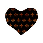 ROYAL1 BLACK MARBLE & RUSTED METAL Standard 16  Premium Flano Heart Shape Cushions Back