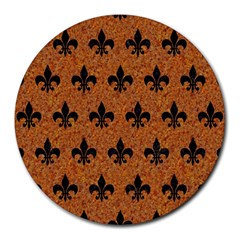 Royal1 Black Marble & Rusted Metal (r) Round Mousepads