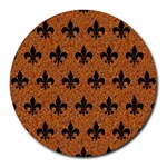 ROYAL1 BLACK MARBLE & RUSTED METAL (R) Round Mousepads Front