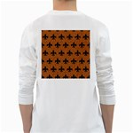 ROYAL1 BLACK MARBLE & RUSTED METAL (R) White Long Sleeve T-Shirts Back