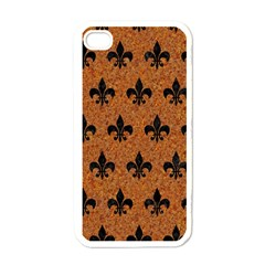 Royal1 Black Marble & Rusted Metal (r) Apple Iphone 4 Case (white) by trendistuff