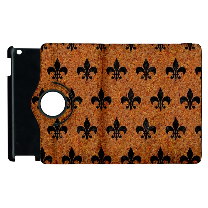 ROYAL1 BLACK MARBLE & RUSTED METAL (R) Apple iPad 3/4 Flip 360 Case