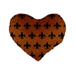 ROYAL1 BLACK MARBLE & RUSTED METAL (R) Standard 16  Premium Heart Shape Cushions Front