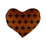 ROYAL1 BLACK MARBLE & RUSTED METAL (R) Standard 16  Premium Heart Shape Cushions Back
