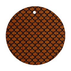 Scales1 Black Marble & Rusted Metal Ornament (round) by trendistuff