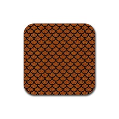 Scales1 Black Marble & Rusted Metal Rubber Coaster (square)  by trendistuff