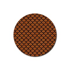 Scales1 Black Marble & Rusted Metal Rubber Coaster (round)  by trendistuff