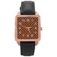 Scales1 Black Marble & Rusted Metal Rose Gold Leather Watch  by trendistuff