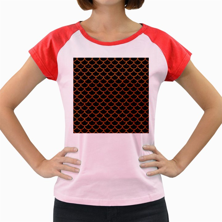 SCALES1 BLACK MARBLE & RUSTED METAL (R) Women s Cap Sleeve T-Shirt