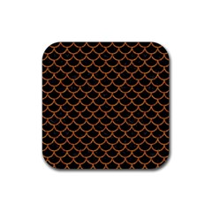 Scales1 Black Marble & Rusted Metal (r) Rubber Coaster (square)  by trendistuff