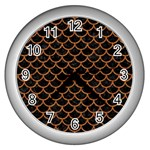 SCALES1 BLACK MARBLE & RUSTED METAL (R) Wall Clocks (Silver)  Front