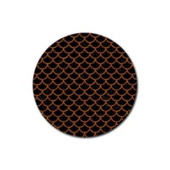 Scales1 Black Marble & Rusted Metal (r) Rubber Coaster (round)  by trendistuff