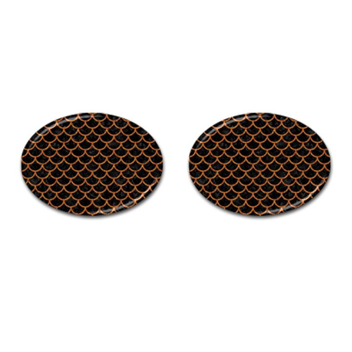 SCALES1 BLACK MARBLE & RUSTED METAL (R) Cufflinks (Oval)