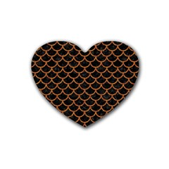 Scales1 Black Marble & Rusted Metal (r) Rubber Coaster (heart)  by trendistuff