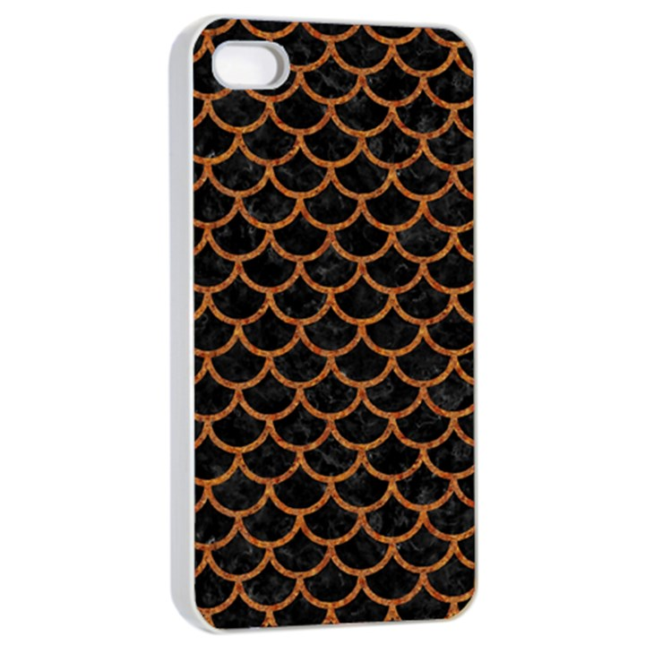 SCALES1 BLACK MARBLE & RUSTED METAL (R) Apple iPhone 4/4s Seamless Case (White)