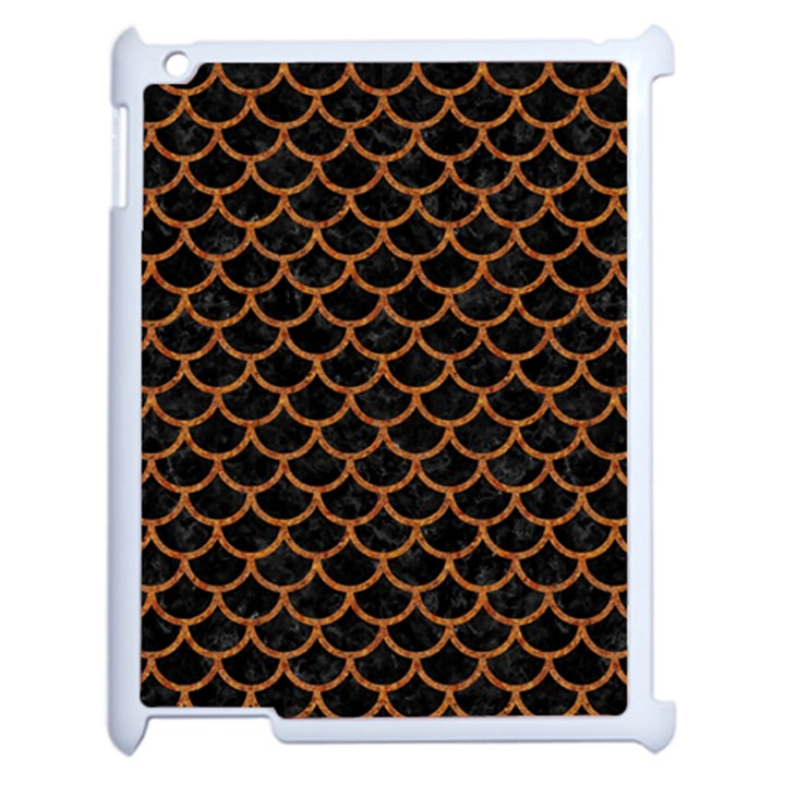 SCALES1 BLACK MARBLE & RUSTED METAL (R) Apple iPad 2 Case (White)