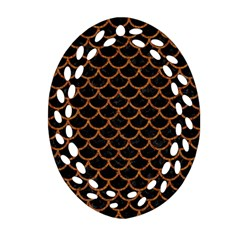 Scales1 Black Marble & Rusted Metal (r) Oval Filigree Ornament (two Sides) by trendistuff