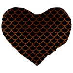 SCALES1 BLACK MARBLE & RUSTED METAL (R) Large 19  Premium Heart Shape Cushions Front