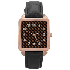 Scales1 Black Marble & Rusted Metal (r) Rose Gold Leather Watch  by trendistuff