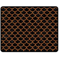 Scales1 Black Marble & Rusted Metal (r) Double Sided Fleece Blanket (medium)  by trendistuff