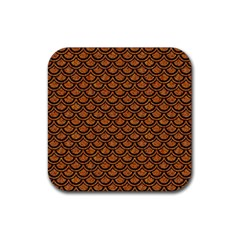 SCALES2 BLACK MARBLE & RUSTED METAL Rubber Coaster (Square)