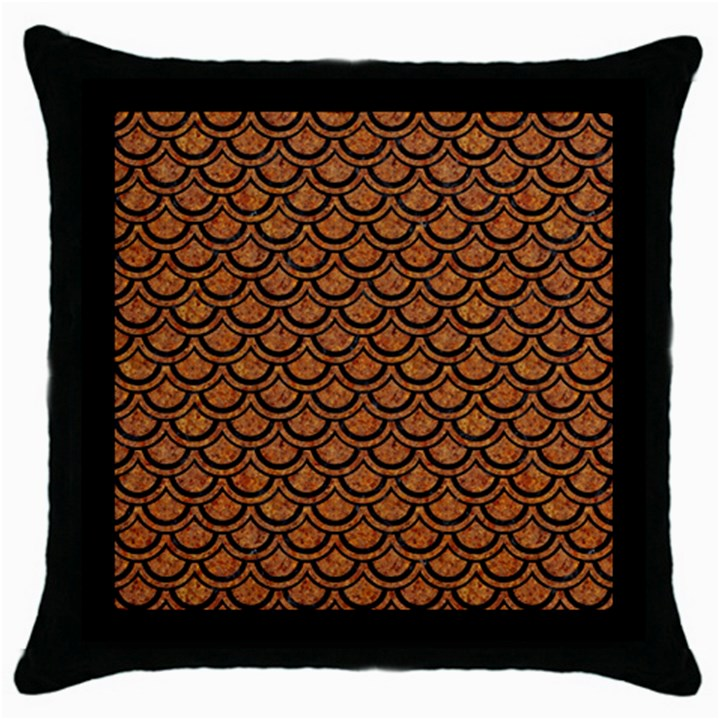 SCALES2 BLACK MARBLE & RUSTED METAL Throw Pillow Case (Black)