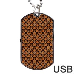 SCALES2 BLACK MARBLE & RUSTED METAL Dog Tag USB Flash (Two Sides)