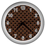 SCALES2 BLACK MARBLE & RUSTED METAL (R) Wall Clocks (Silver)  Front