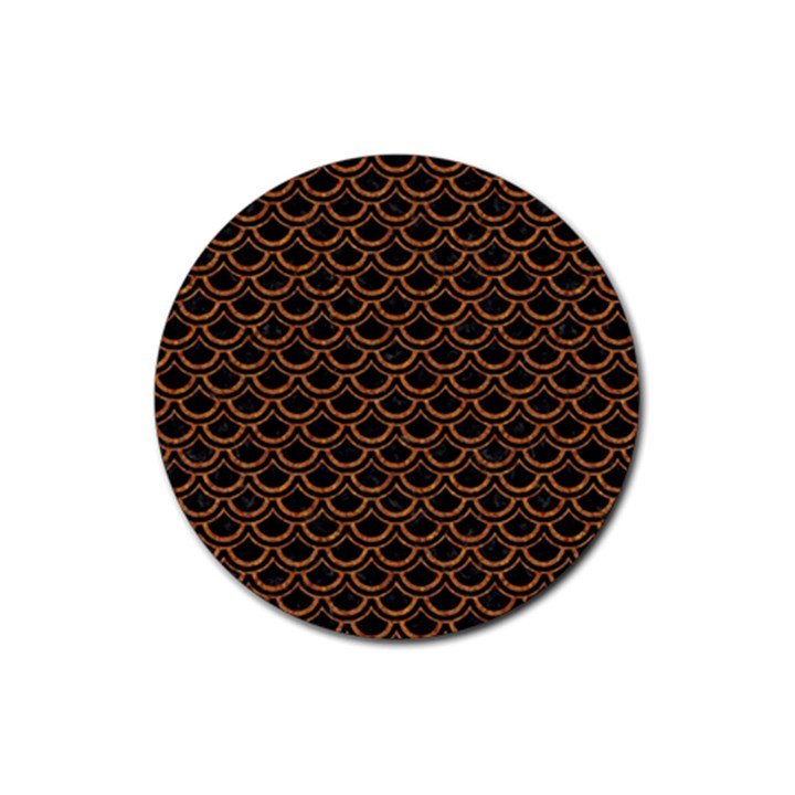 SCALES2 BLACK MARBLE & RUSTED METAL (R) Rubber Coaster (Round)