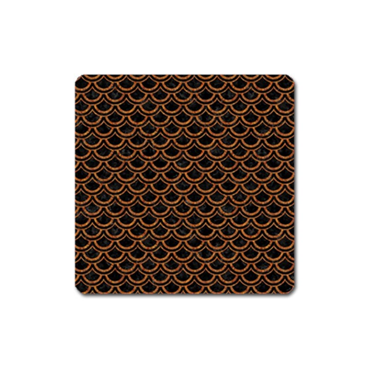SCALES2 BLACK MARBLE & RUSTED METAL (R) Square Magnet
