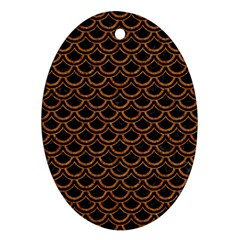Scales2 Black Marble & Rusted Metal (r) Oval Ornament (two Sides) by trendistuff