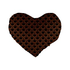 SCALES2 BLACK MARBLE & RUSTED METAL (R) Standard 16  Premium Heart Shape Cushions