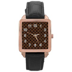 SCALES2 BLACK MARBLE & RUSTED METAL (R) Rose Gold Leather Watch