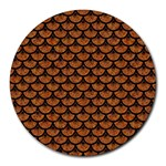 SCALES3 BLACK MARBLE & RUSTED METAL Round Mousepads Front