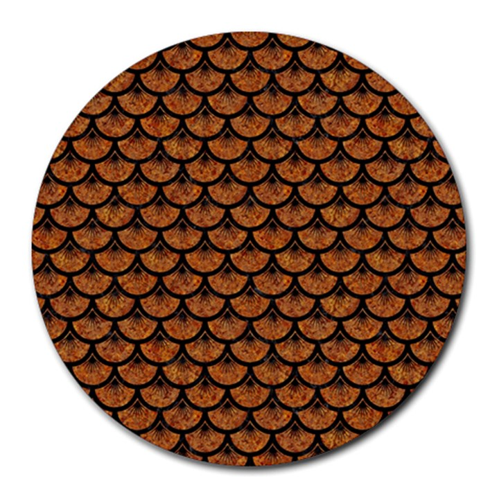 SCALES3 BLACK MARBLE & RUSTED METAL Round Mousepads