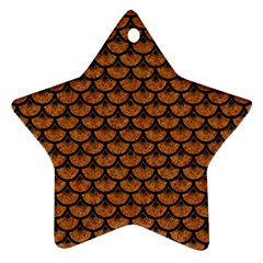 Scales3 Black Marble & Rusted Metal Ornament (star) by trendistuff