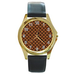 Scales3 Black Marble & Rusted Metal Round Gold Metal Watch by trendistuff
