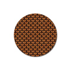 Scales3 Black Marble & Rusted Metal Magnet 3  (round)