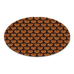 Scales3 Black Marble & Rusted Metal Oval Magnet by trendistuff