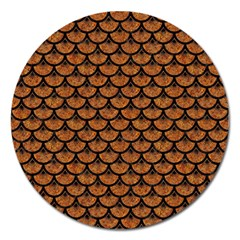 Scales3 Black Marble & Rusted Metal Magnet 5  (round) by trendistuff