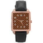 SCALES3 BLACK MARBLE & RUSTED METAL Rose Gold Leather Watch  Front