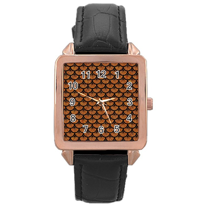 SCALES3 BLACK MARBLE & RUSTED METAL Rose Gold Leather Watch