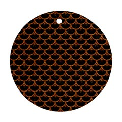 SCALES3 BLACK MARBLE & RUSTED METAL (R) Ornament (Round)