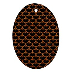 Scales3 Black Marble & Rusted Metal (r) Ornament (oval)