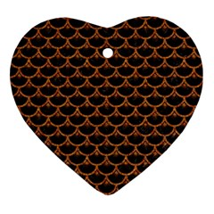 SCALES3 BLACK MARBLE & RUSTED METAL (R) Ornament (Heart)