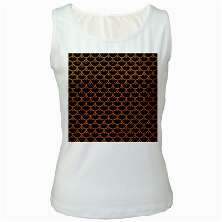 SCALES3 BLACK MARBLE & RUSTED METAL (R) Women s White Tank Top